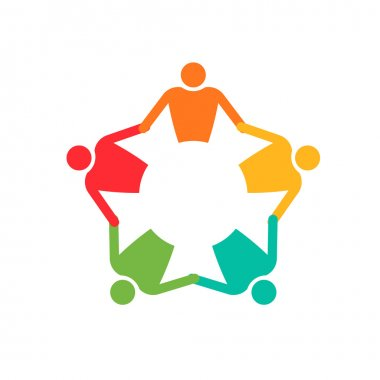 Teamwork People in circle 5. Logo Holding hands. Vector icon