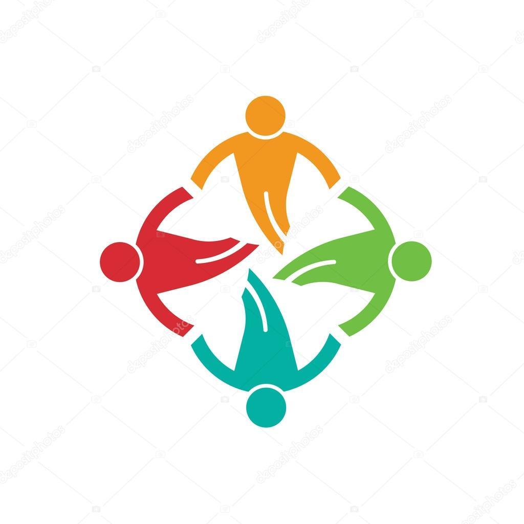 Menschen Sie Boden im Kreis 4, einander zu helfen. Vektor-logo ...