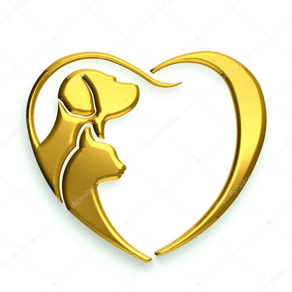 Dog and Cat love heart gold isolated in white background