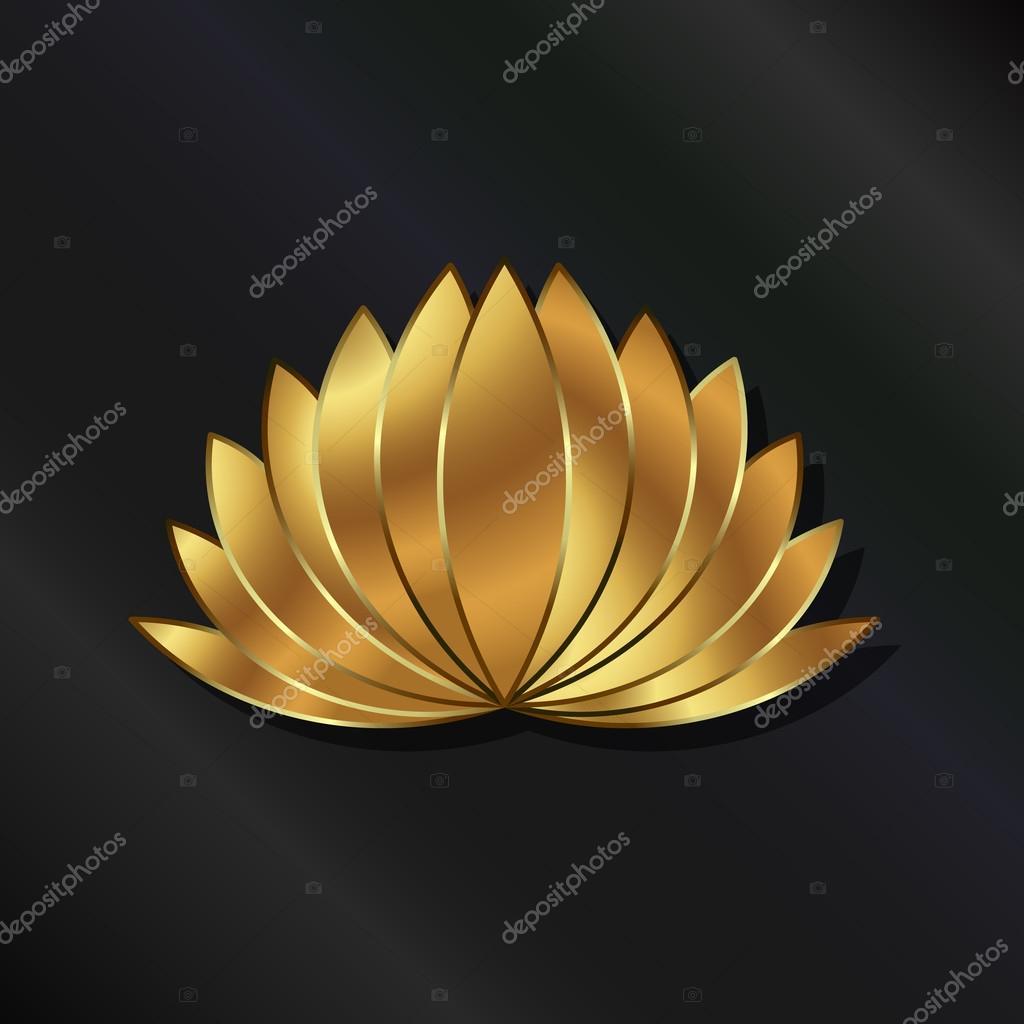 Leafy Lotus plant luxury gold logo
