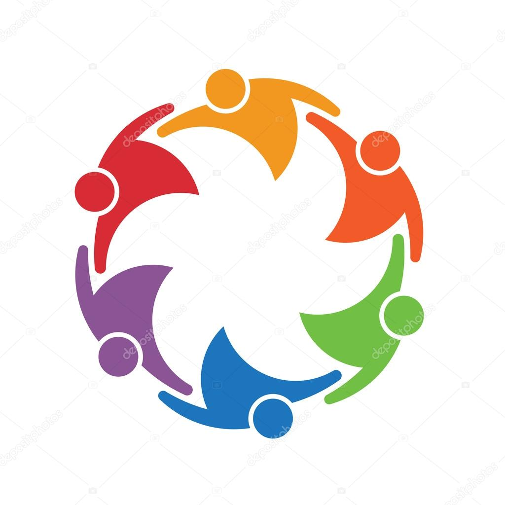 team work people group of 6 in a circle logo � stock