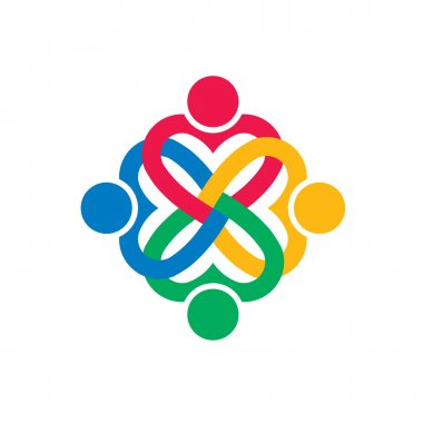 Four heart love people logo