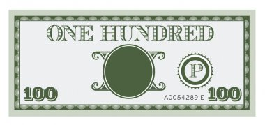 One hundred money bill image. With space to add your text, information and image.