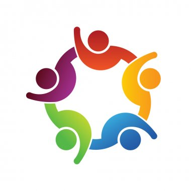 People together with hands up logo
