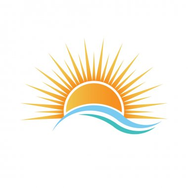 Sunshine over water waves logo