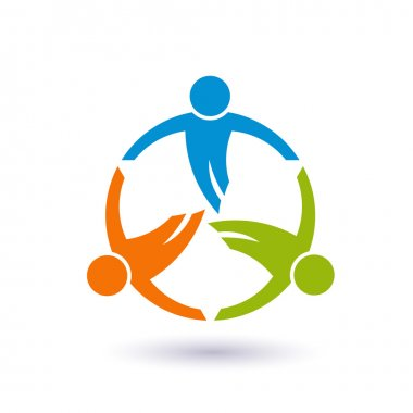 Teamwork in a round. Group of 3 people logo