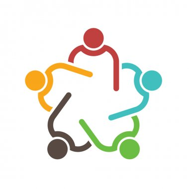 Teamwork conference group of 5 people logo