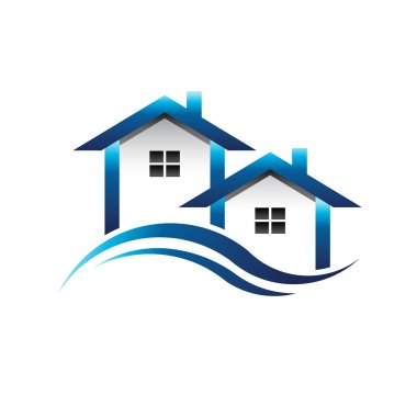 Blue Houses Real Estate logo stock vector