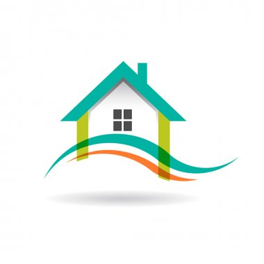 Wave in house logo stock vector