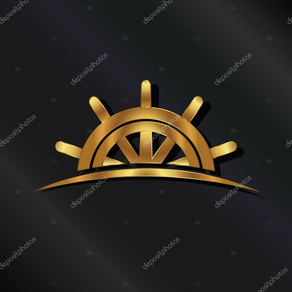 Golden Ship wheel marine logo