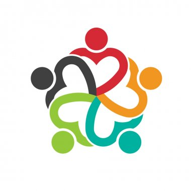 Teamwork 5 heart people group logo