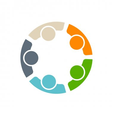 Team of five people group in  meeting logo