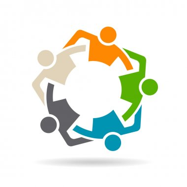 Team Friends Group of five people logo