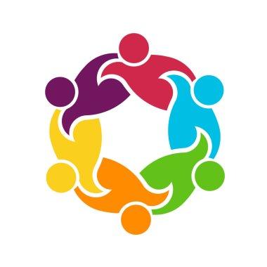 Teamwork round circle of 6 people group logo