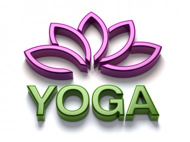3D Yoga name with shiny lotus in purple and green