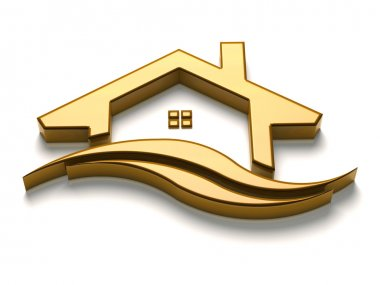3D Luxury  Golden House with waves logo