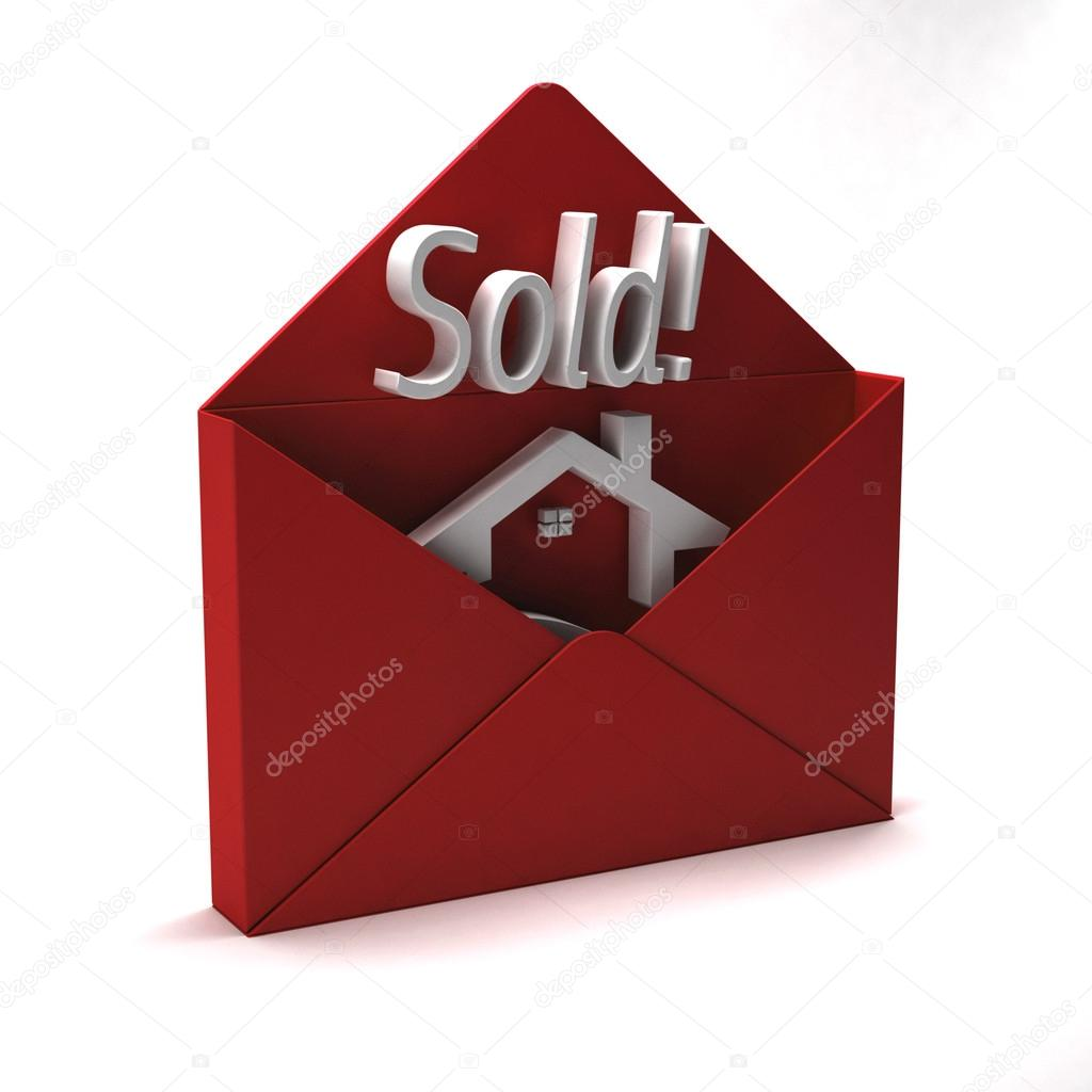 3d Sold Word In Red Envelope Stock Photo Deskcube 74170485