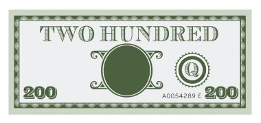 Two hundred money bill vector. With space to add your text, info