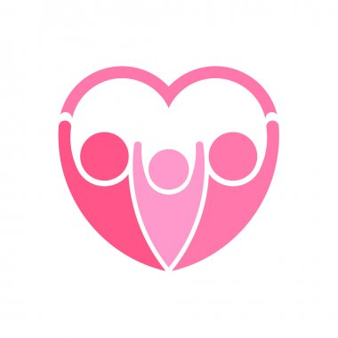 Pinky family logo vector. Heart shape