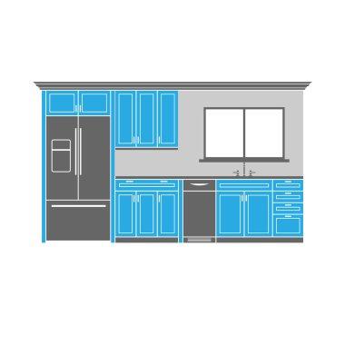 Kitchen illustration with refrigerator, dishwasher and sink