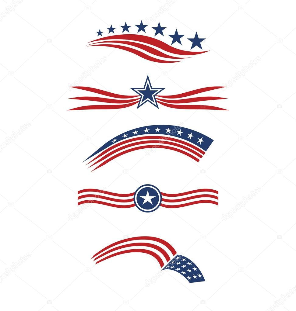 Usa star flag logo stripes design elements vector icons for Design company usa