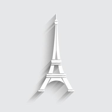 Eiffel Tower Logo vector. 3D paper style