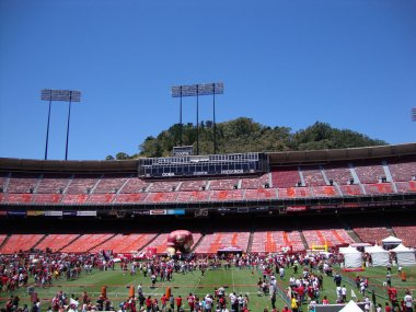 49er football fans explore various activities at FanFest to kick