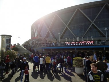 People gather outside the Oracle Arena before basketball game