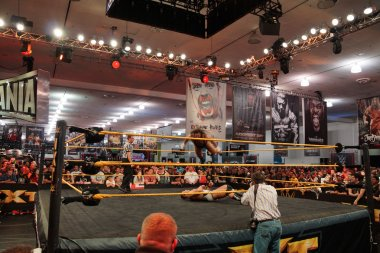 NXT Wrestle Bull Dempsey jump off ropes on to opponent Jason Jor