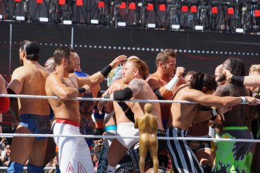 WWE Wrestlers fight in ring during andre the giant battle royal