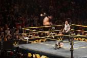 NXT male wrestler Finn Balor does Coup de Grace (Diving double