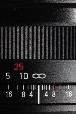 The scale of numbers in the photo lens