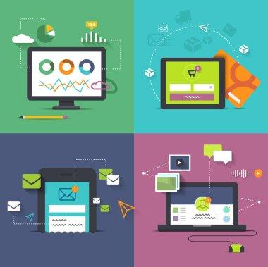 Set of desktop and handheld technology illustrations