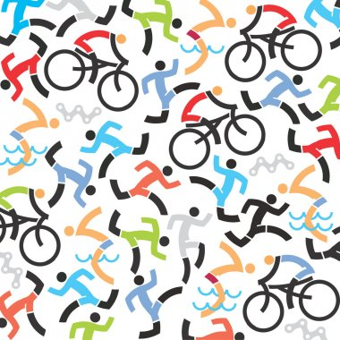 Triathlon icons background.