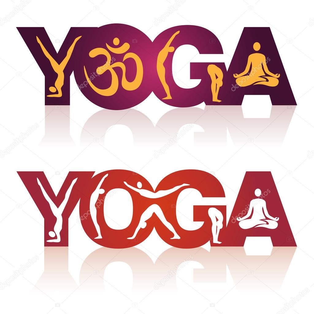 Word Yoga With Positions Stock Vector