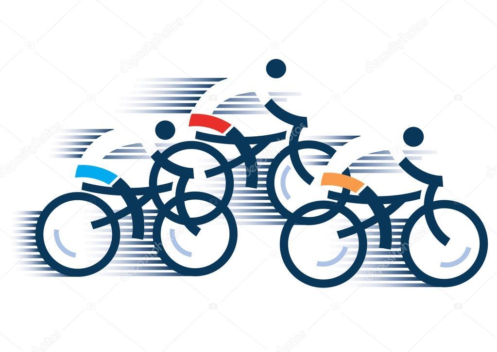 três ciclistas de estrada vetores de stock chachar 116372186