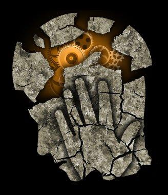 Man head Depression headache stress.