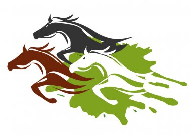 Illustration of horses running through the tall grass.  Colorful Vector illustration on white background. stock vector