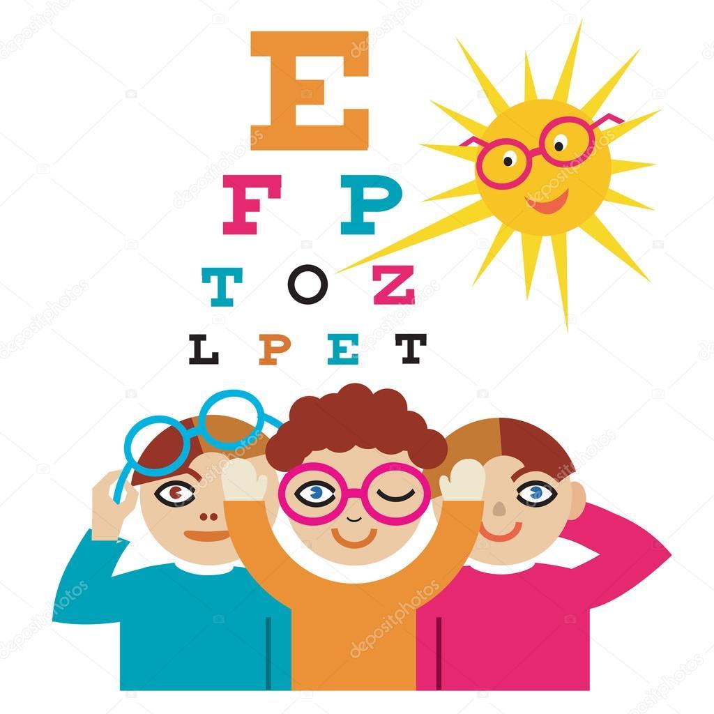 Children at the eye doctor stock vector chachar 53089019 the sun as an eye doctor examining children using eye chartctor illustration cartoon vector by chachar nvjuhfo Choice Image