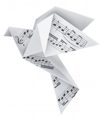Origami pigeon with musical notes