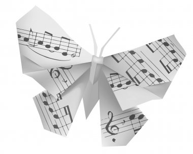 Origami butterfly with musical notes