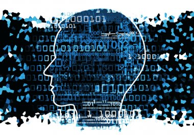 Head silhouette with binary codes