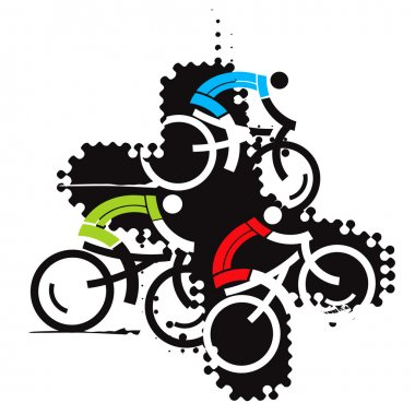 Cyclist icons on the grunge background