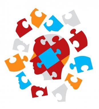Puzzle head symbolizing Psychology