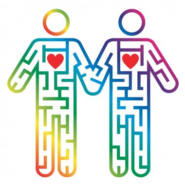 Gay male couple icon as Maze