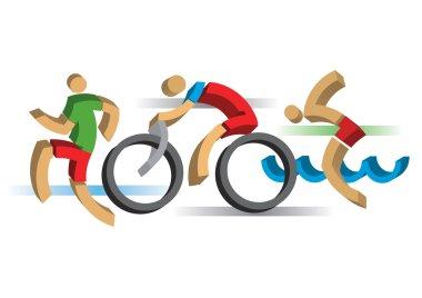 3D design stylized Triathlon athletes