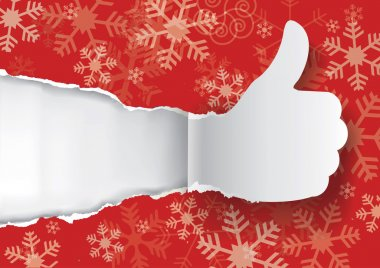 Snowflakes background with torn paper Thumbs up.