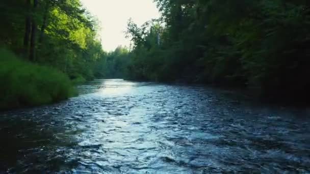 Rafting on the forest river on beautiful sunny summer days. A stormy river with rapids in the middle of the forest.