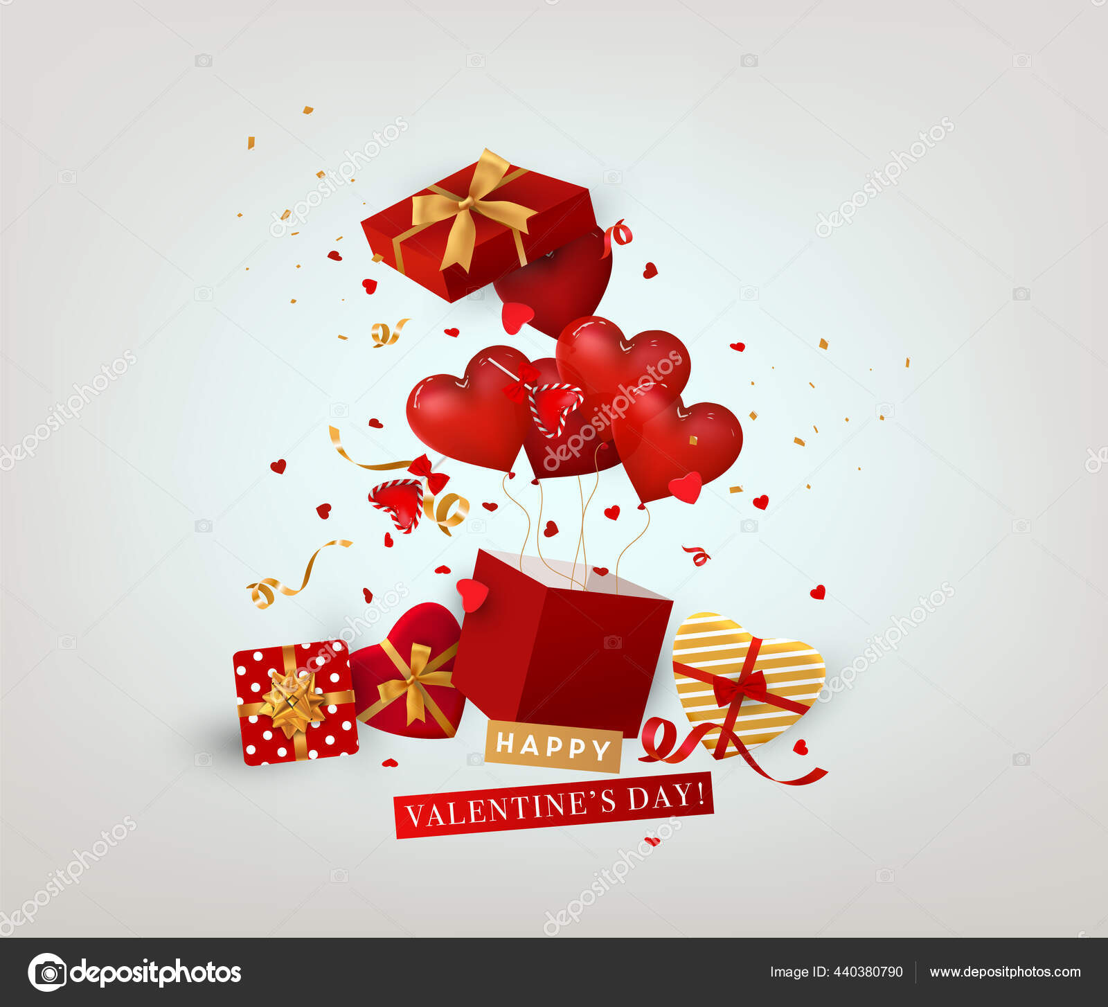 Vektor Happy Valentine Day Illustration Kartu Ucapan Romantis Dengan Balon Stok Vektor C Vikasuperstar 440380790