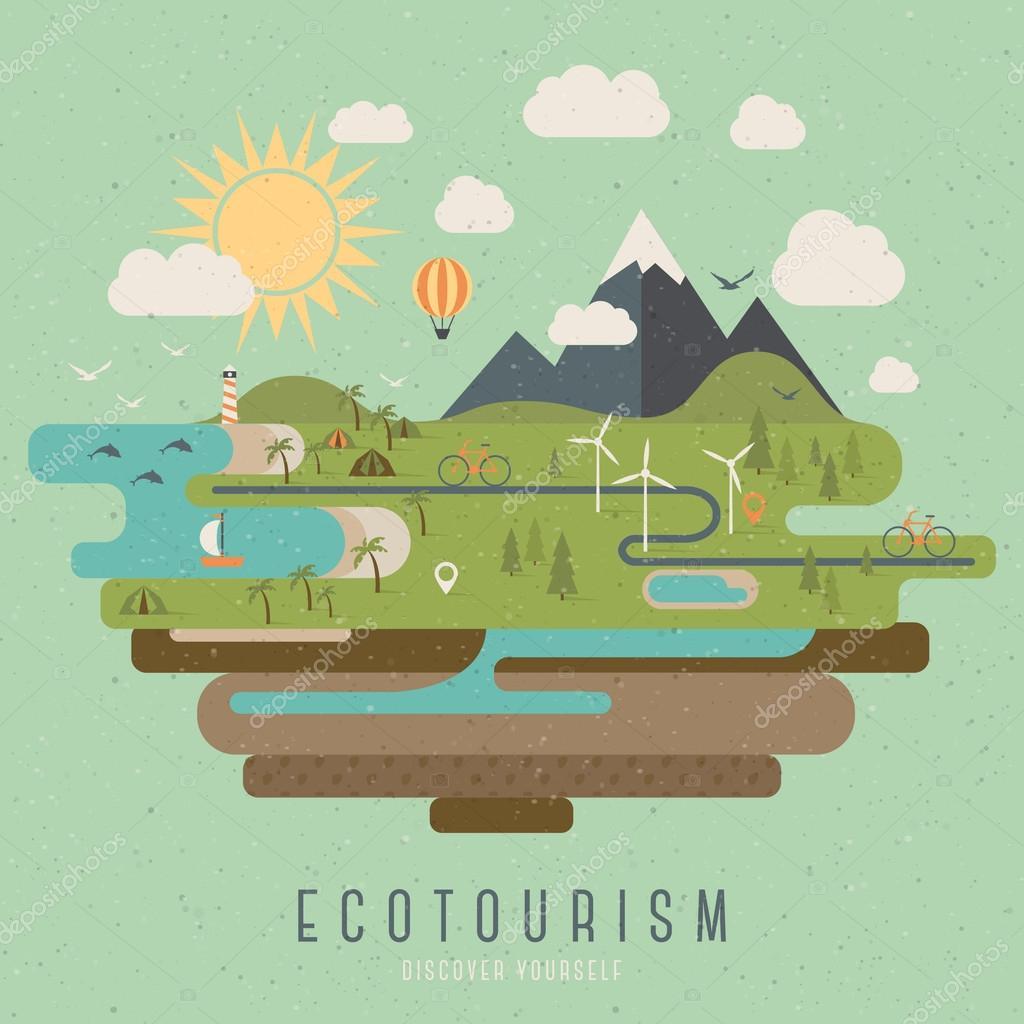 Ecotourism vintage style illustration